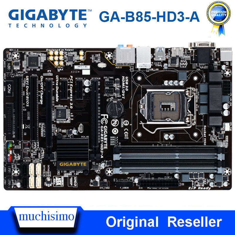 Intel B85 <font><b>Socket</b></font> LGA <font><b>1150</b></font> Gigabyte GA-B85-HD3-A Orginal Desktop Motherboard DDR3 Cpu <font><b>i7</b></font> i5 i3 32GB SATA 3 <font><b>1150</b></font> Used Mainboard image