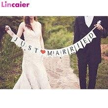 Lincaier, recién casados, Banner blanco, guirnalda rústica, Decoración de mesa de boda, suministros para eventos de fiesta Vintage, decoración de coche Mr Mrs