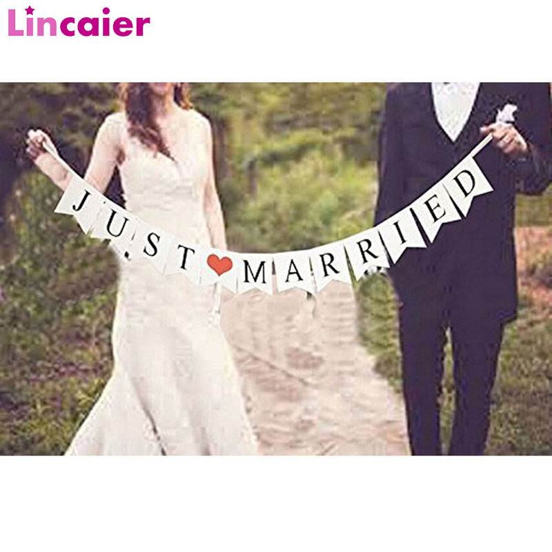 Lincaier Just Married White Banner Rustic Garland Wedding Table Decoration Vintage Party Events Supplies Mr Mrs Car Decor