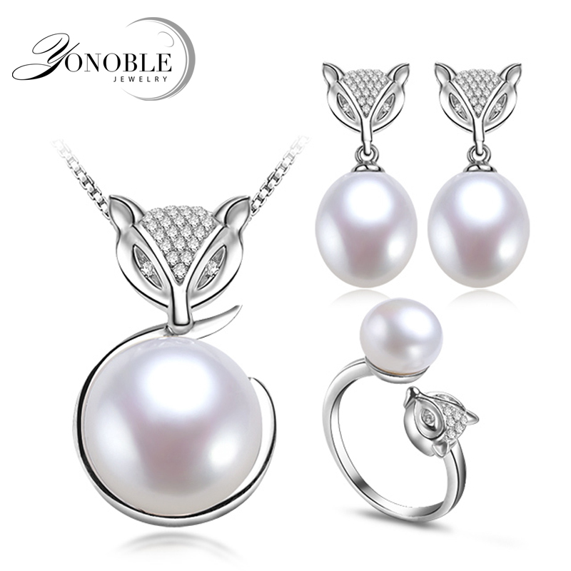 Real Natural Pearl Jewelry Sets For Women,white Fox 925 Silver Sterling Pearl Necklace Earring Set Anniversary Gift