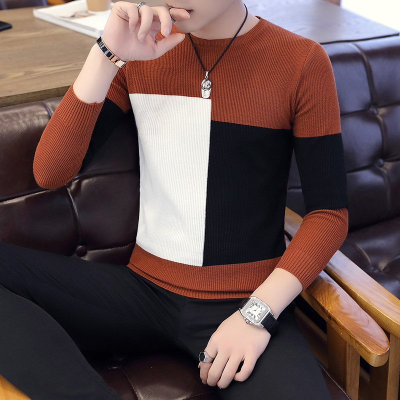 2019 Casual Long Sleeve Autumn Winter Sweater Men Korean Style Slim Knitted Blue Sweater Pullover Jumper Fashion Christmas 3XL