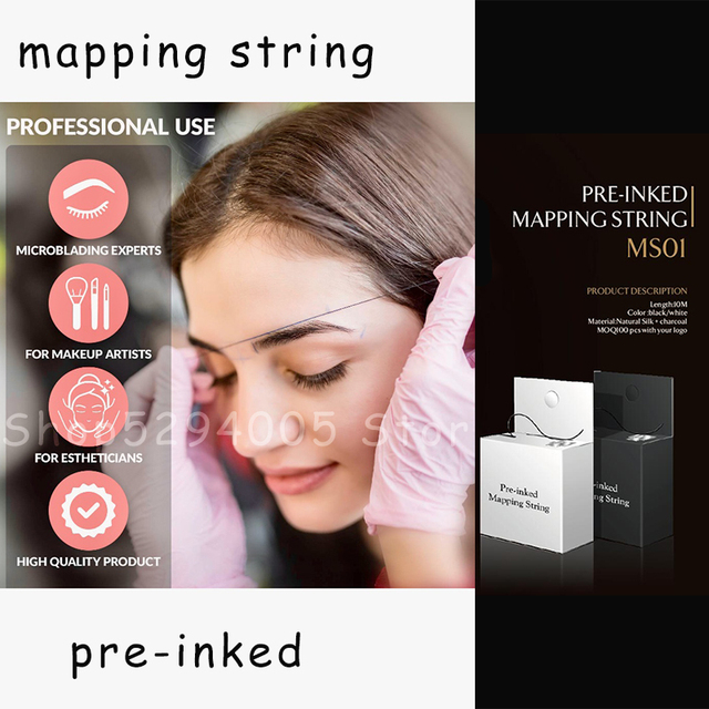 Eyebrow Mapping String Thread for Microblading Pre-Inked 1mm Positioning Eyebrow Measuring Tool mapping Thread 10 m per Box 3