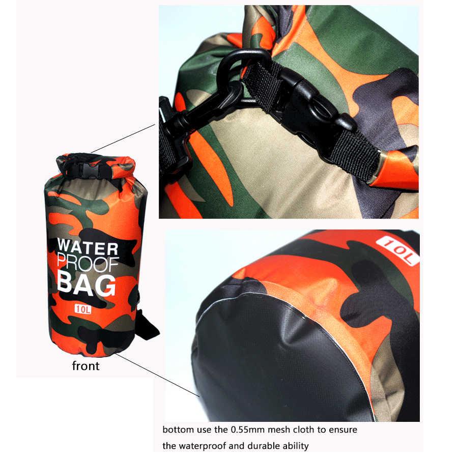 2/5/10/15L 屋外迷彩防水ポータブルラフティングダイビングドライバッグサック PVC 水泳のための川トレッキング