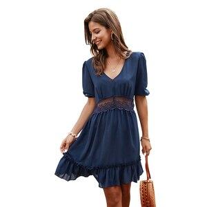 Летнее платье, повседневное, женское, v-образный вырез, желтое, с оборками, Дамское, розовое, мини, Короткие сарафаны, высокая талия, летняя одежда для женщин