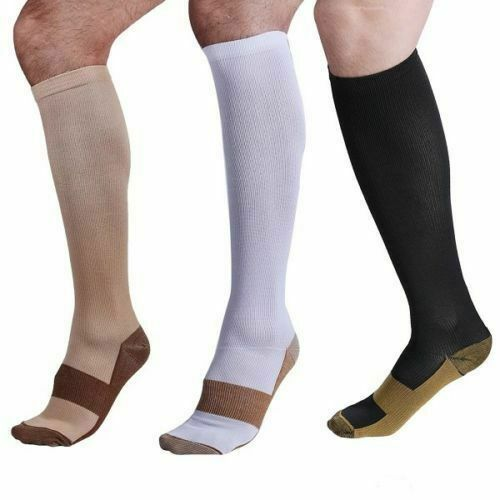 Men's Women's Copper Infused Compression Socks 20-30mmHg Graduated  S-XXL