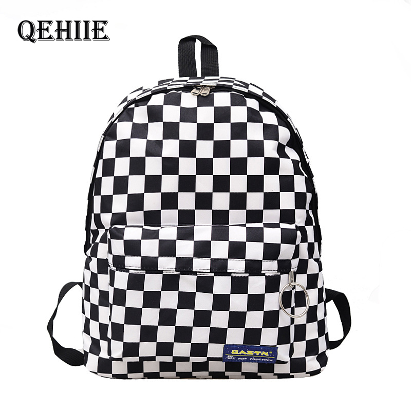 New Canvas Woman Cute Backpack Purse Black And White Plaid School Bags For Teenage Girls Fashion Travel Shopping Large Back Pack