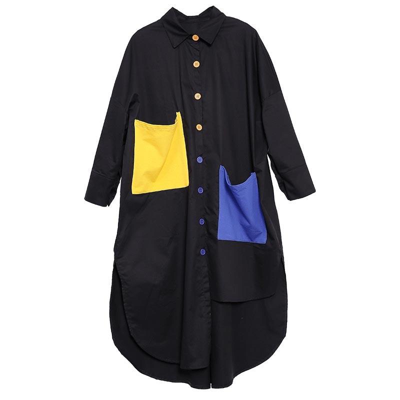 Plus Size Blouses Women's Shirts Tops Female Lapel Long Sleeve Single Breasted Hem Split Asymmetric Cotton Long Shirt Dress 5XL Women Women's Blouses Women's Clothings