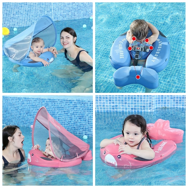 Solid Non-inflatable Baby Swimming Ring floating Float Lying Swimming Pool Toys Bathtub For accessories Swim Trainer Sunshade 2