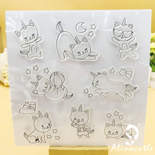 CLEAR STAMPS Hello Unicorn Scrapbooking Card Album Paper Craft Rubber Roller Transparent Silicon Clear Stamp AlinaCraft