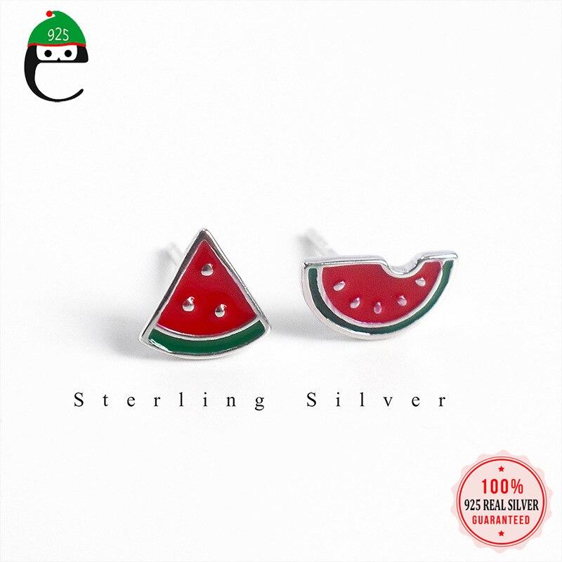 ElfoPlataSi Genuine 925 Sterling Silver Sweet Asymmetric Summer Glaze Watermelon Stud Earring for Women Silver 925 Jewelry XY572