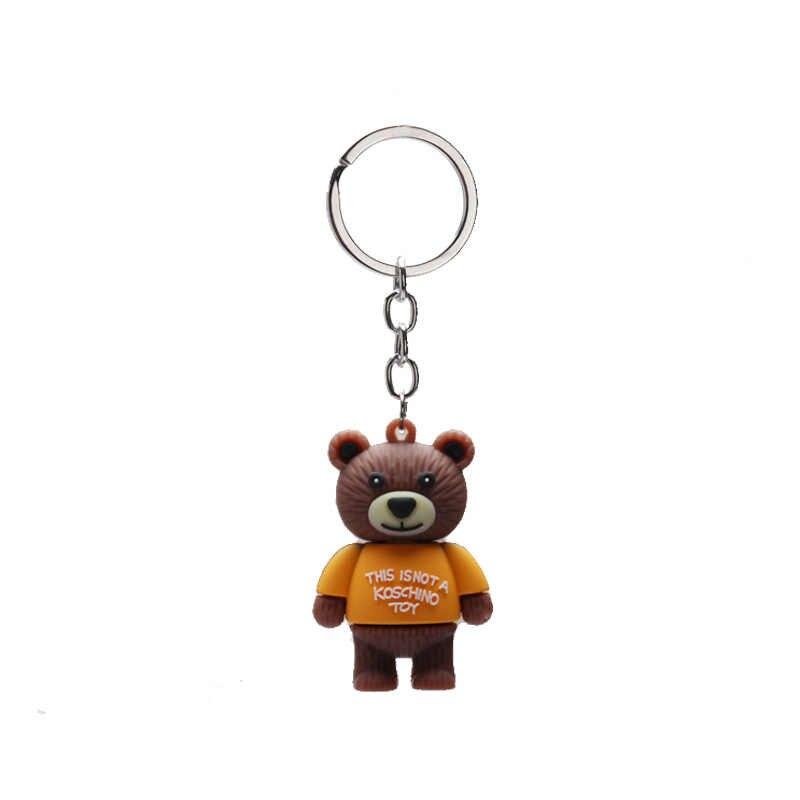 2019 Bonito Dos Desenhos Animados Urso 600DPVC 3 silicone Urso Chaveiros Chave Da cadeia de Moda Mulher Saco Anel Chave Do Carro Crianças Brinquedos de Presente acessórios