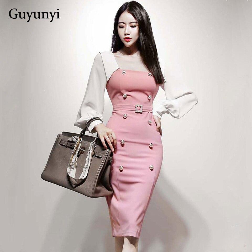 Simple Office Lady Dress 2019 Autumn High Waist Slim Solid Color Stitching Decorative Button Belt Pencil Party Dress Women