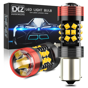 DXZ 2pcs Canbus 1156 S25 BA15S P21W LED 30-SMD 1200LM 12V Car LED Turn Signal Reverse Brake Light Bulb BAU15S PY21W Lens LED