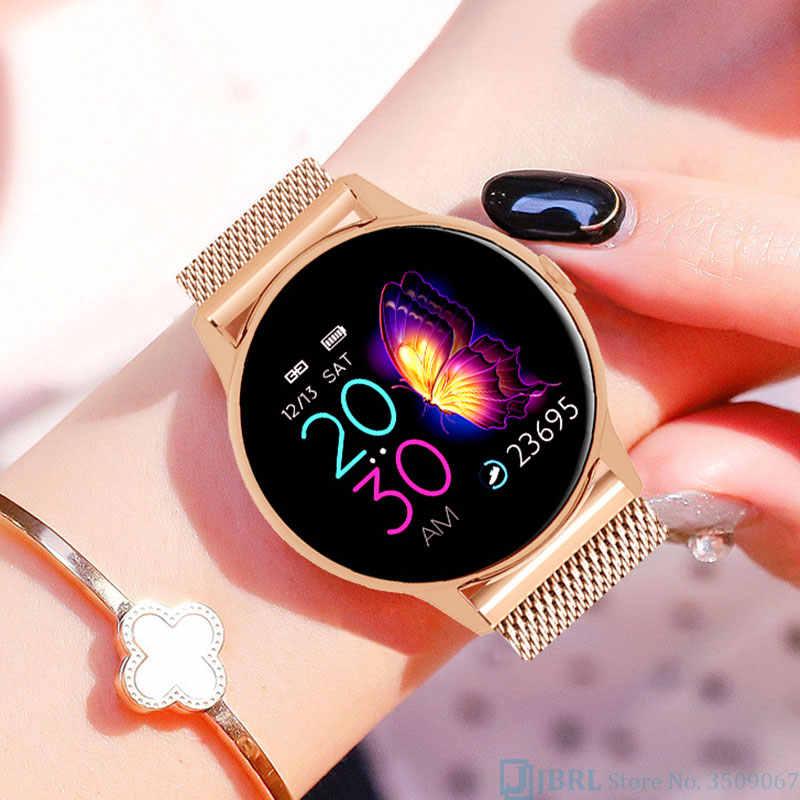 ساعة ذكية تعمل باللمس الكامل للنساء لنظام أندرويد IOS Smartwatch إلكترونيات ساعة ذكية جهاز تعقب للياقة البدنية قمة فاخرة بلوتوث ساعة ذكية