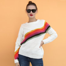New Winter Women Knitted Sweater Rainbow Stripe Print O Neck Long Sleeve Loose Oversized Pullover Black/Blue/White(China)