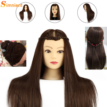 Training Head Real Hair 85% Straight Professional with Stand Cosmetology Doll Head for Styling Curl Practice Mannequin Head 85% real human hair mannequin head for hair training styling practice professional hairdressing cosmetology doll head for braid
