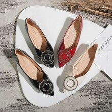 ผู้หญิงBallet Flats Loafers Toeโลหะตกแต่งสไลด์รองเท้าสบายๆขนาดใหญ่Zapatos Mujerสีดำสีแดงapricot