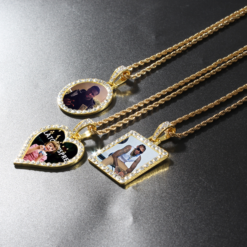 Custom Photo Memory Medallions Square Round Heart Pendant Necklace Stainless Steel Chain Hip Hop Jewelry Cubic Zircon Gift