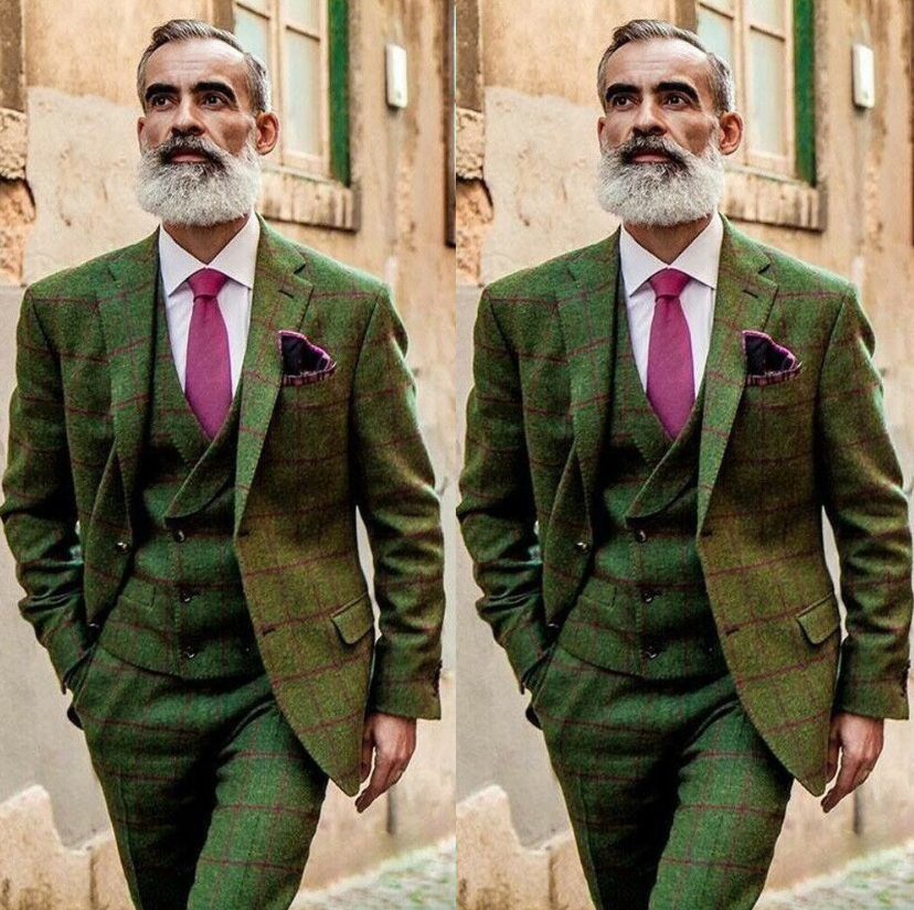 2020 New Arrival Men's Olive Green 3 Piece Tweed Check Vintage Suit Plaid Groom Tuxedos Notch Lapel Dinner Prom Suits