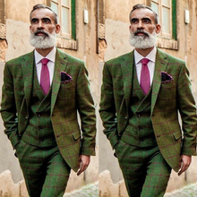 2020 New Arrival Men's Olive Green 3 Piece Tweed Check Vintage Suit Plaid Groom