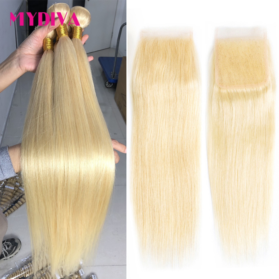 613 Blonde Bundles With Closure Straight Hair Bundles With Closure Remy Human Hair Weave Extenstions 10-30 32 36 40 Inch Bundle