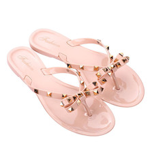 ENPLEI 2019 Women's shoes Summer new sandals slippers Flat with bow rivets slippers Flip-flops Garden jelly beach sandals(China)