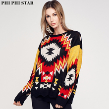Phi Phi Star Geometric patterns Women Winter O-Neck Long Sleeve Pullover Knitted Sweater Loose Round collar Sweater For Women цена 2017