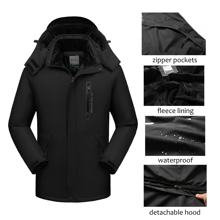 Men Winter Jacket Waterproof Hooded Windbreaker Male Thick Warm Parkas Fleece Ja