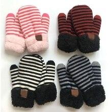 2pcs Infant Baby Striped Wool Beanie Hat Gloves Mittens Set Fake Ball Pom Pom Cap Warm Winter Beanies