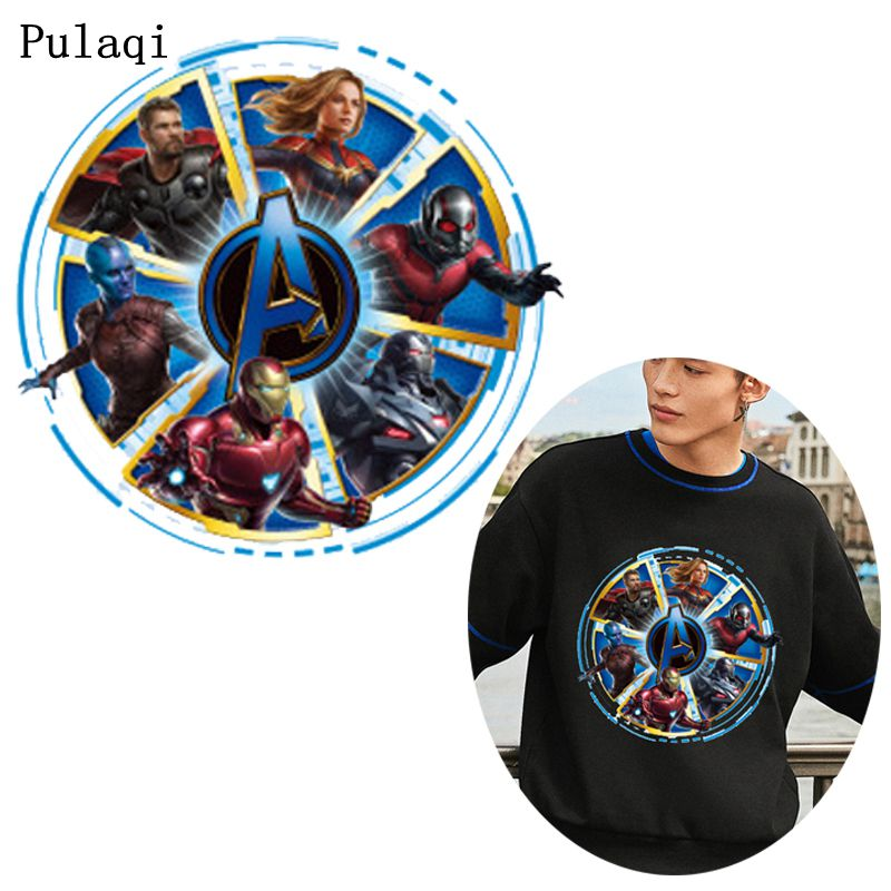 Pulaqi Avengers <font><b>Marvel</b></font> <font><b>Patch</b></font> Iron On Transfers Vinyl Heat Transfer Anime Stickers On Clothes <font><b>Patches</b></font> <font><b>For</b></font> <font><b>Clothing</b></font> Appliques Iron image