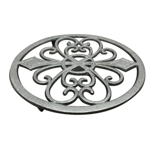 Thick Cast Iron Trivet Decorative Round Trivet Mat Heat Insulation Pads with Vintage Pattern for Home Kitchen Dining Tab