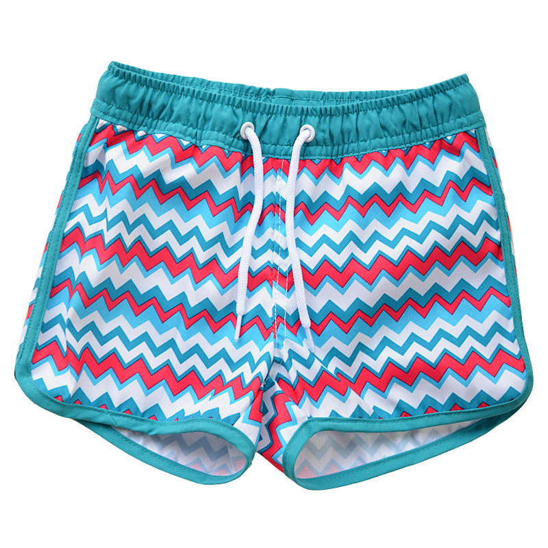 2019 New Style KID'S Swimwear Big Boy Color Wave Lace-up Cute Boy Beach Shorts Hot Springs Swimming Trunks