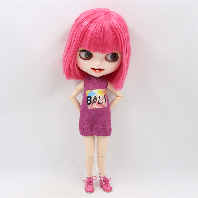 Blyth nude doll Carved lips Open mouth Matte customized face Pink hair 1/6 Joint body ICY bjd DIY toy girl gift