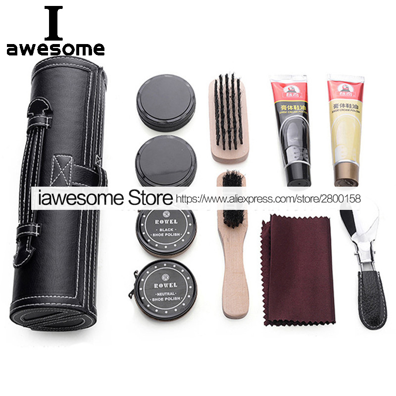 New Professional Shoes Care Kit Portable For Leather Shoes Boots Sneakers Cleaning Set Polish Brush Horn Shine Polishing Tool Shoe Care Kit Aliexpress