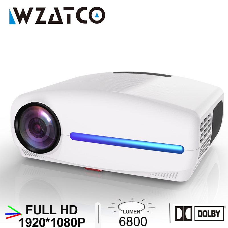 WZATCO C2 1920 1080P Full HD LED Projector with 4D Digital Keystone 6800Lumens Home Theater Portable HDMI Beamer LED Proyector