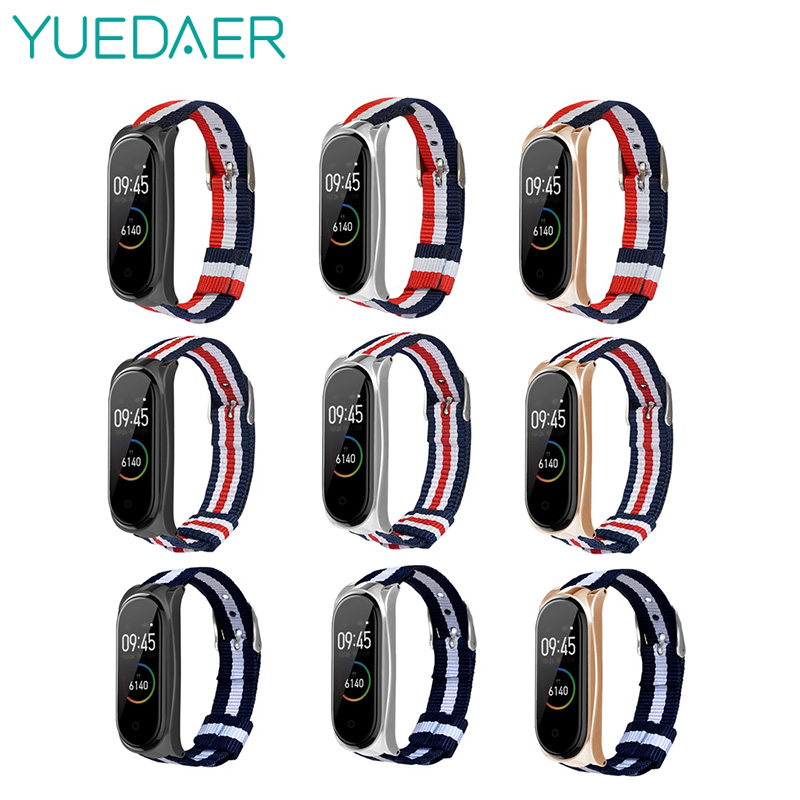 Yuedaer Stripe Canvas Mi Band 4 3 Strap For Mi Band 4 3 Bracelet Wristband With Metal Buckle For Xiaomi Mi Band 4 Replacement