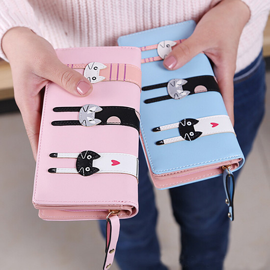 Portable Women Cute Cat Cartoon Wallet Long Creative Card Holder Casual Female Clutch PU Leather Girls Coin Purse Crossbody Bag