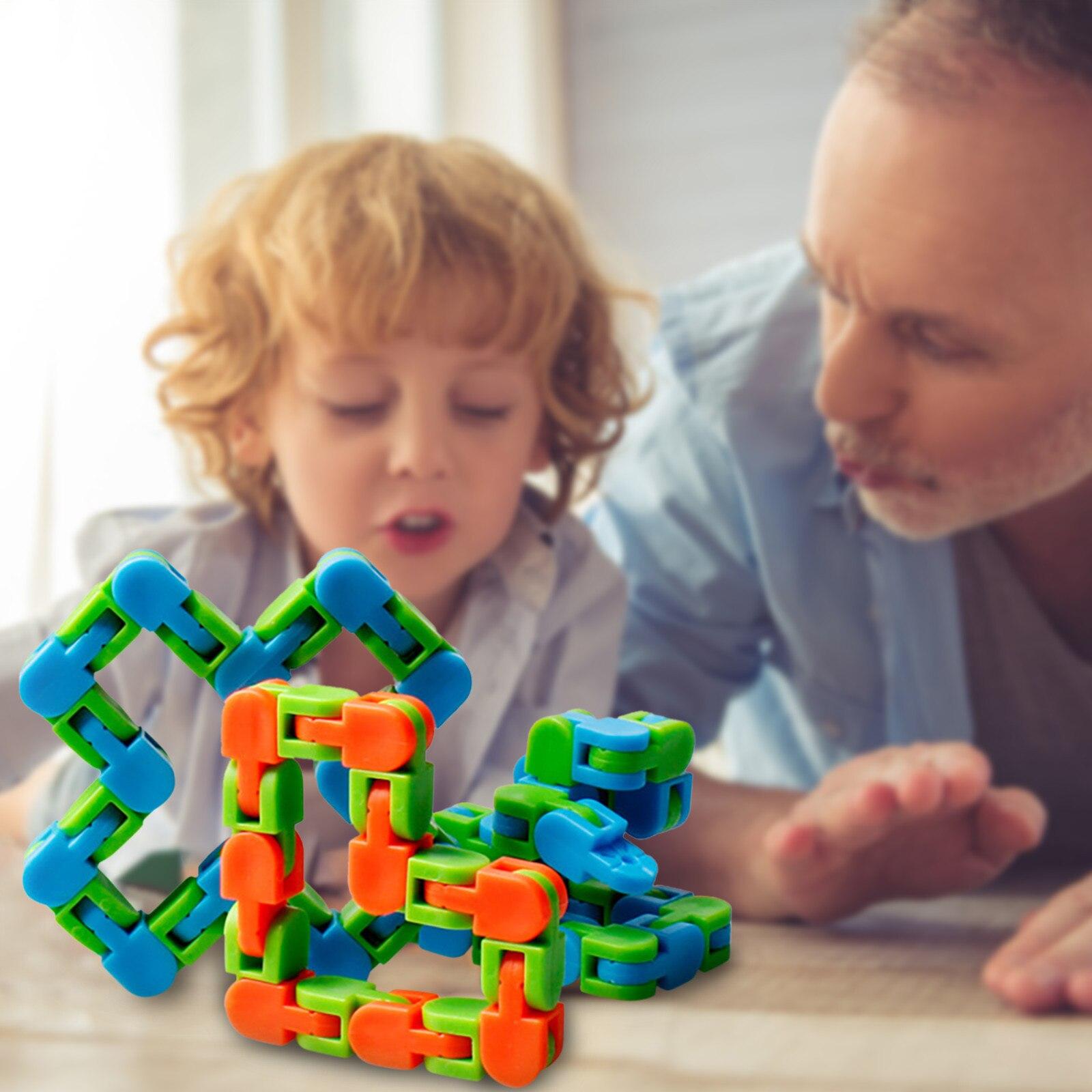Sensory Toy Fidget-Toys Autism Wacky Tracks Snake Click Snap Multicolor Kids Classic img2