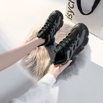 2020 Winter Korean Women Sneakers Thick Bottom Vulcanize Outdoor Sports Height Increasing Shoes Chunky Female Casual Shoes Warm tuinanle chunky sneakers high heel 10 cm women autumn thick bottom platform sneakers height increasing woman silver casual shoes