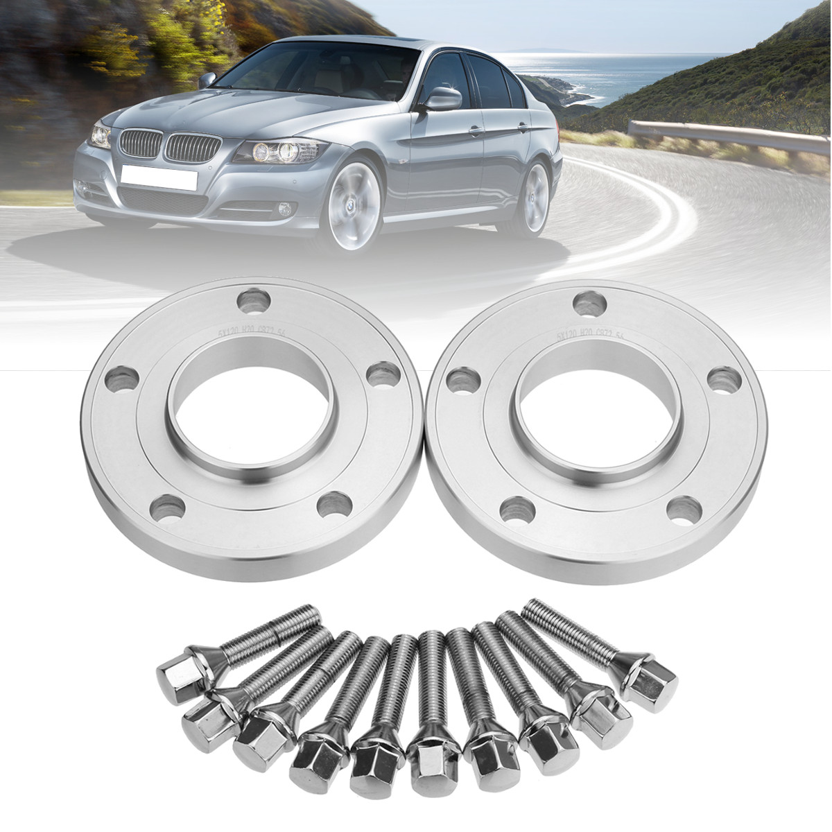2PCS 10/12/15/20mm 5x120 PCD Wheel Spacers Hubcentric Kit with Blot Alloy For BMW 1 3 <font><b>5</b></font> <font><b>6</b></font> 7 8 Series Z3 Z4 Z8 E90 image