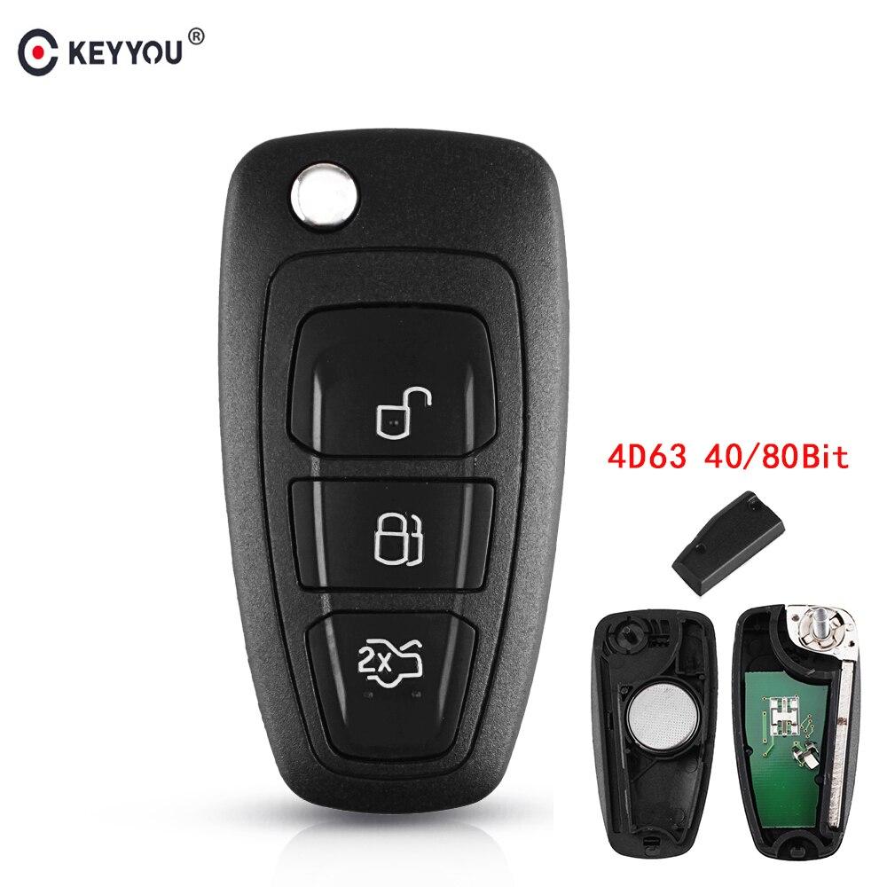 KEYYOU 3 кнопки 434/433 МГц FSK для Ford Mondeo Focus C-Max 2011 2012 2013 2014 Автомобильный ключ дистанционного управления 4D63 чип 40/80 бит