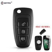 Keyyou 3 botões 434/433 mhz fsk para ford mondeo foco c-max 2011 2012 2013 2014 40/80 carro de controle remoto chave 4d63 chip bit