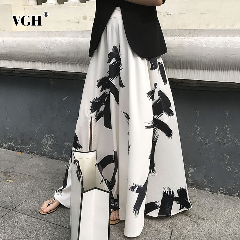VGH Casual Print Split Summer Skirt Ladies High Waist Long Hit Color Ruched Asymmtrical Elegant Skirts Female 2020 Clothes Tide