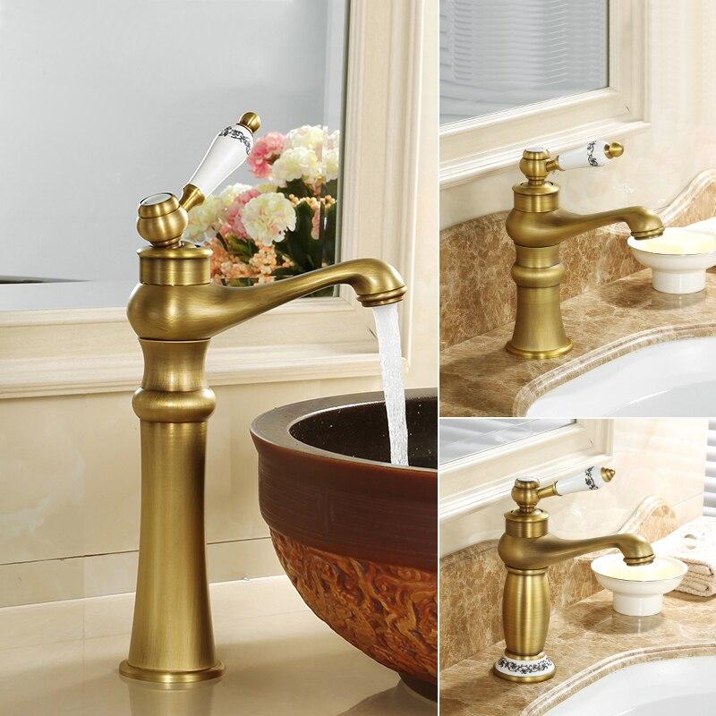 Robinets de bassin Antique Bronze cuivre évier mélangeur robinets chaud et froid évier robinet monotrou pont monté lavage salle de bains robinets d'eau