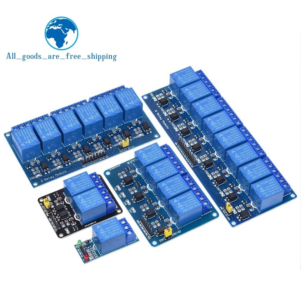 Релейный модуль TZT 5 В, 12 В, 1, 2, 4, 6, 8 каналов с оптроном, релейный выход 1, 2, 4, 6, 8 каналов, релейный модуль для arduino в наличии