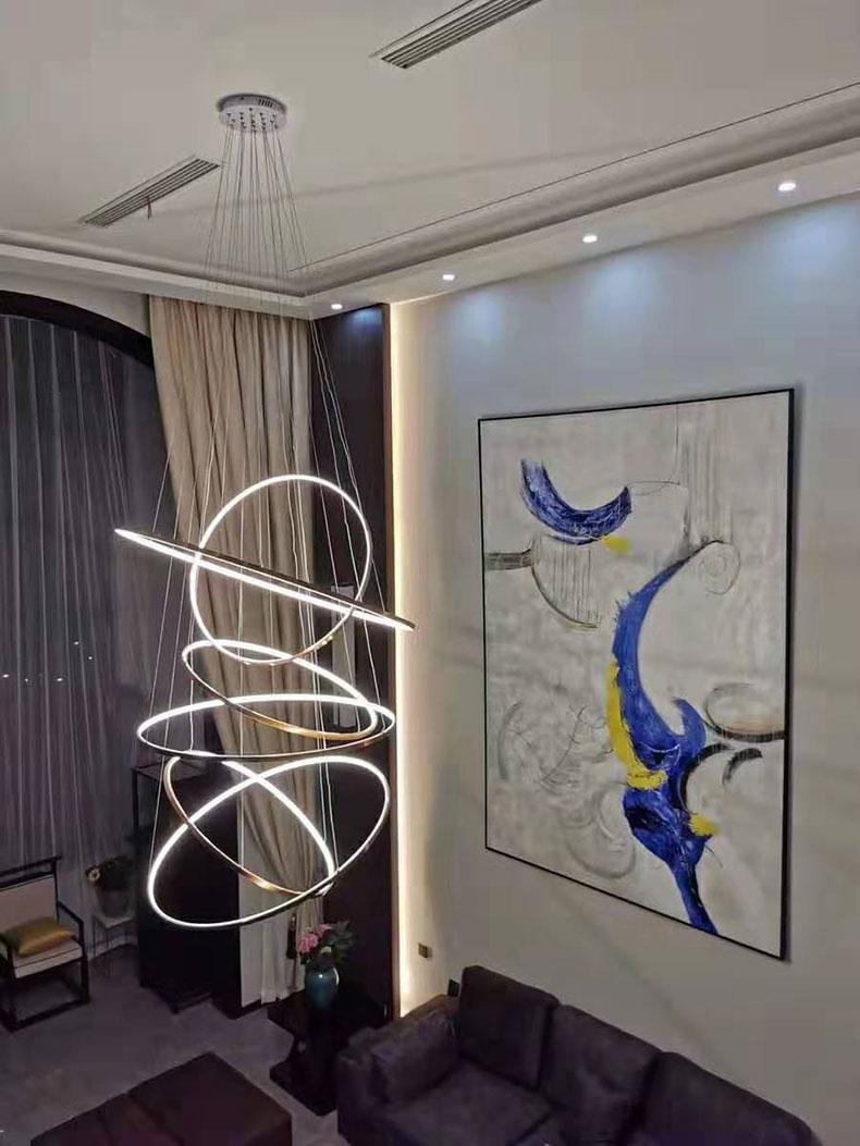 H11e52955ff444047b0c7970c01432aafB Modern Home LED Ceiling Light For Living room Dining room Kitchen Lustre 6Ring 5Rings Hanging Lamp Ceiling Lamp Lighting Fixture