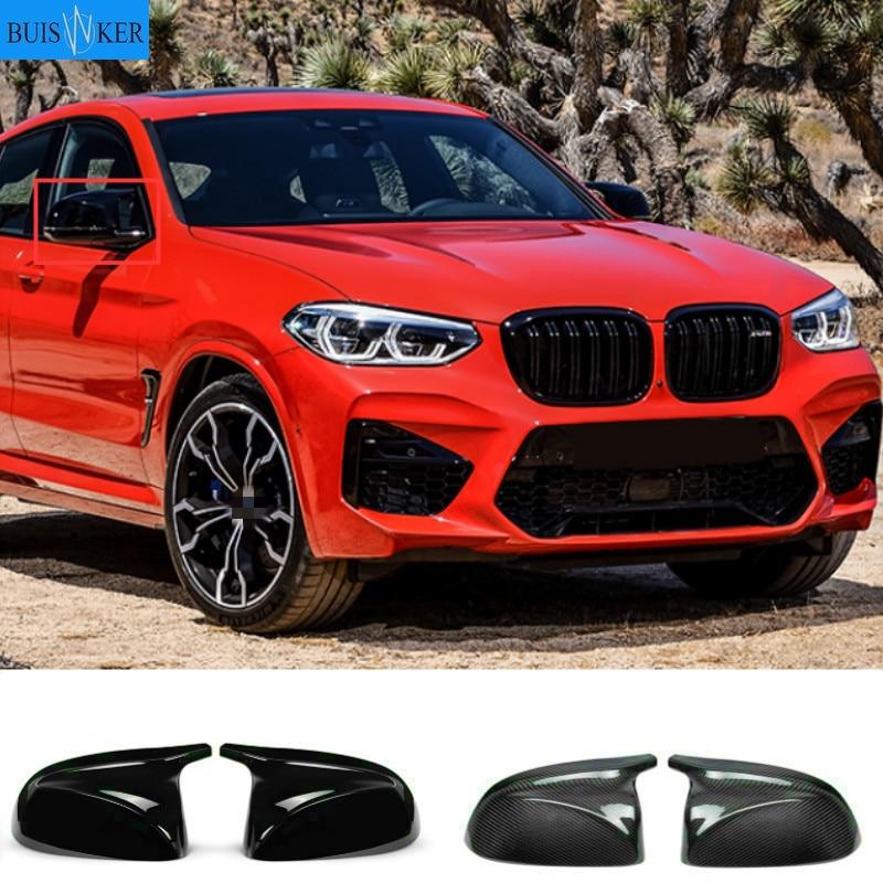 Колпачки для зеркала заднего вида из углеродного волокна для BMW X3 X4 X5 G01 G08 G02 G05 2019 2020 Non X3M X4M, колпачки для боковых зеркал, глянцевые черные