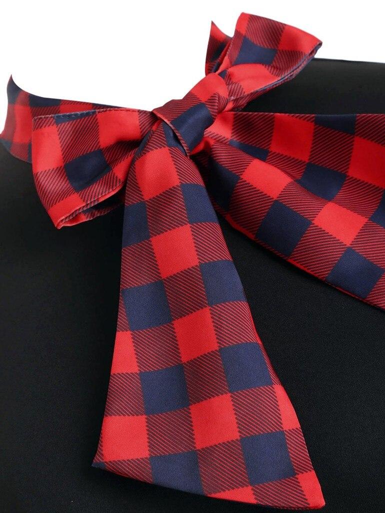 vestido de mujer Women Short Sleeve Plaid Panel Bow Tie Vintage Rockabilly Style A Line Dress