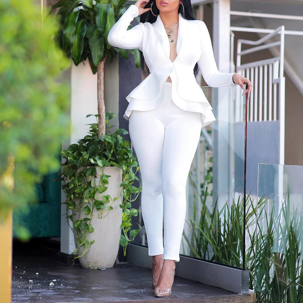 2020 Graduation Job Set Women Fashion Business Uniform Solid V-neck Ruffles Patchwork Long Sleeve Coat Pants Suit