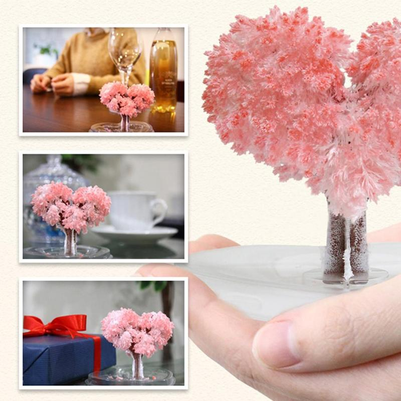 Mini Magic Growing Tree Paper Toys Heart Shape Crystal Trees DIY Paper Tree Gift Baby Toy Science Toys For Children